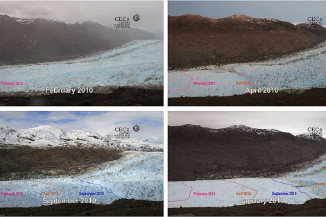Imágenes del glaciar Jorge Montt en cuatro momentos diferentes. | AP