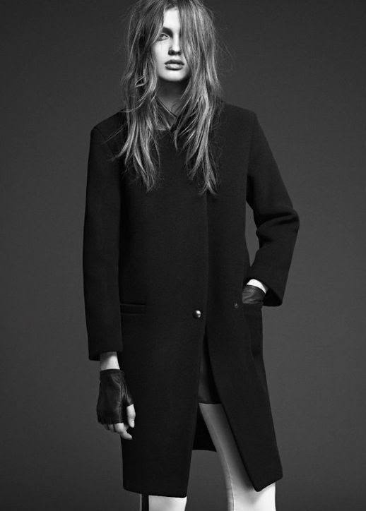 LE FASHION IMAGE SANDRO FW 2012 CAMPAIGN LOOKBOOK BLACK COAT WHITE SIDE STRIPE PANTS TROUSERS FINGERLESS LEATHER GLOVES NATURAL BEAUTY CLEAN CLASSIC 5