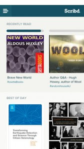 A screenshot of Scribd from the App Store.