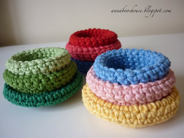 Vintage cotton crochet bowls