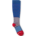 Dr. Motion Dots & Stripes Compression Knee High Socks / Blue / Women's