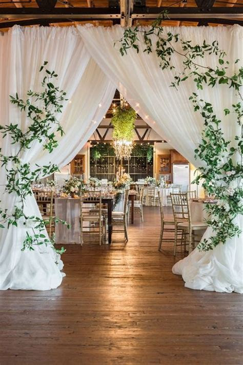 Barn Wedding Reception with a Draped Entrance with Modern