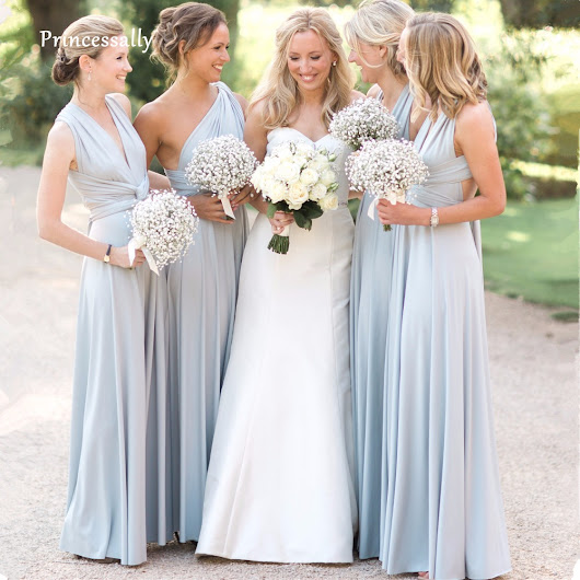 New Blue Bridesmaid Dress Long Covertible Pleated Floor length Gowns for Women Bride Wedding Party Cheap Long Prom Dress 2018