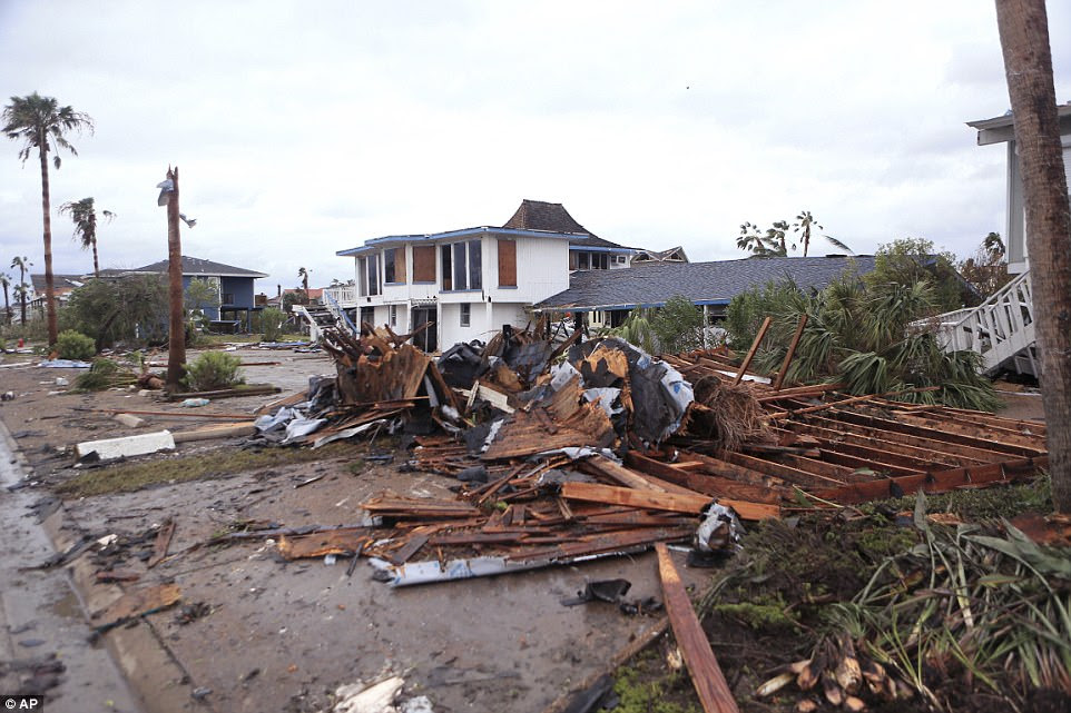 This house in Bayside, Texas, was destroyed after Hurricane Harvey hit Bayside, Texas