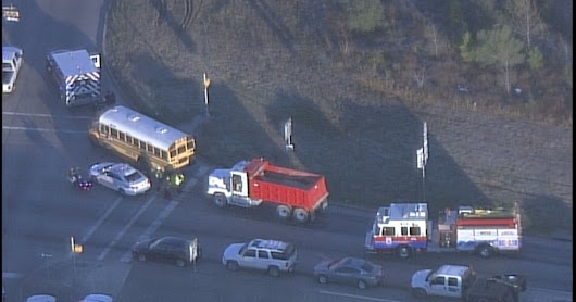 School bus collides with dump truck in NE Harris County