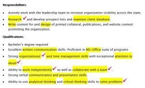 Highlighted job posting
