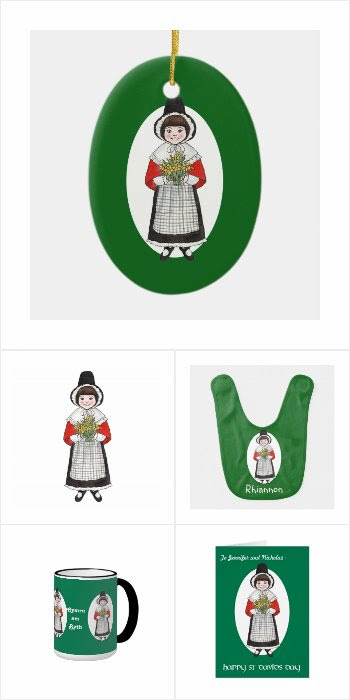 Cute Welsh Girl St David's Day Gifts and Cards