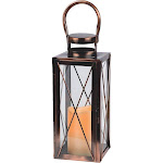 Gerson 4.75 In. W. x 12 In. Copper Metal LED Lantern 42024