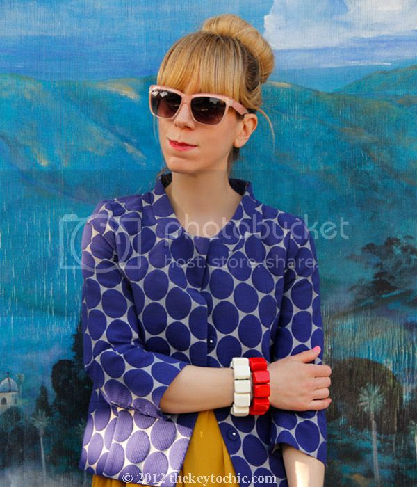 Marni at H&M blue dot jacket, Gypsy Junkies maxi dress, Los Angeles fashion blog, California street style