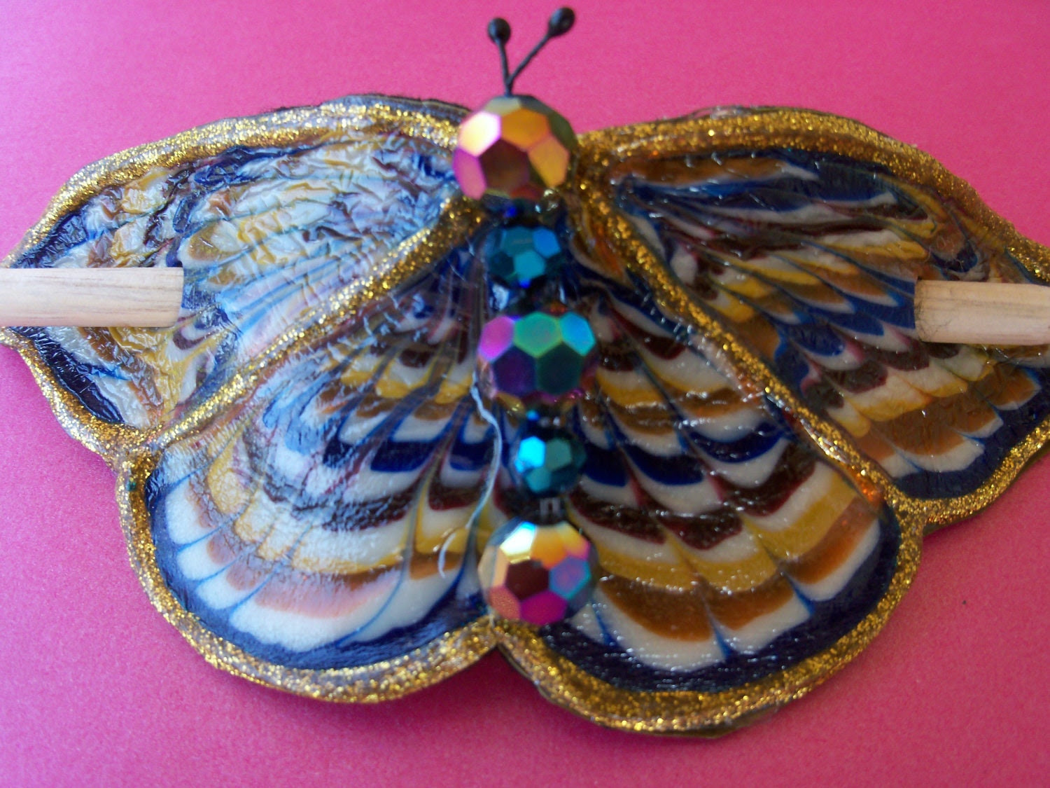 Blue and Amber Celtic butterfly Barrette