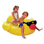 """Game Large Derby Duck Inflatable Pool Float Balloon Animal Pool Float Durable Vinyl Quick-fill Valves 175-pound Capacity 2 Handles 48"""" L X 44"""" W X 27"""""""