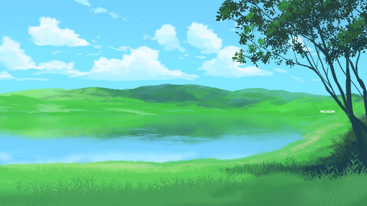 sunny lake scene