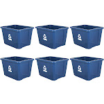 Gracious Living Medium Plastic Curbside 17g Home Recycling Bin, Blue (6 Pack) at Spreetail (VMinnovations | VM Express)