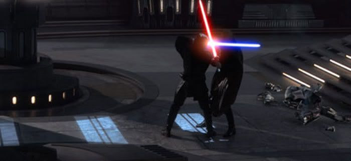 Onboard The Invisible Hand, Anakin Skywalker duels with Count Dooku.