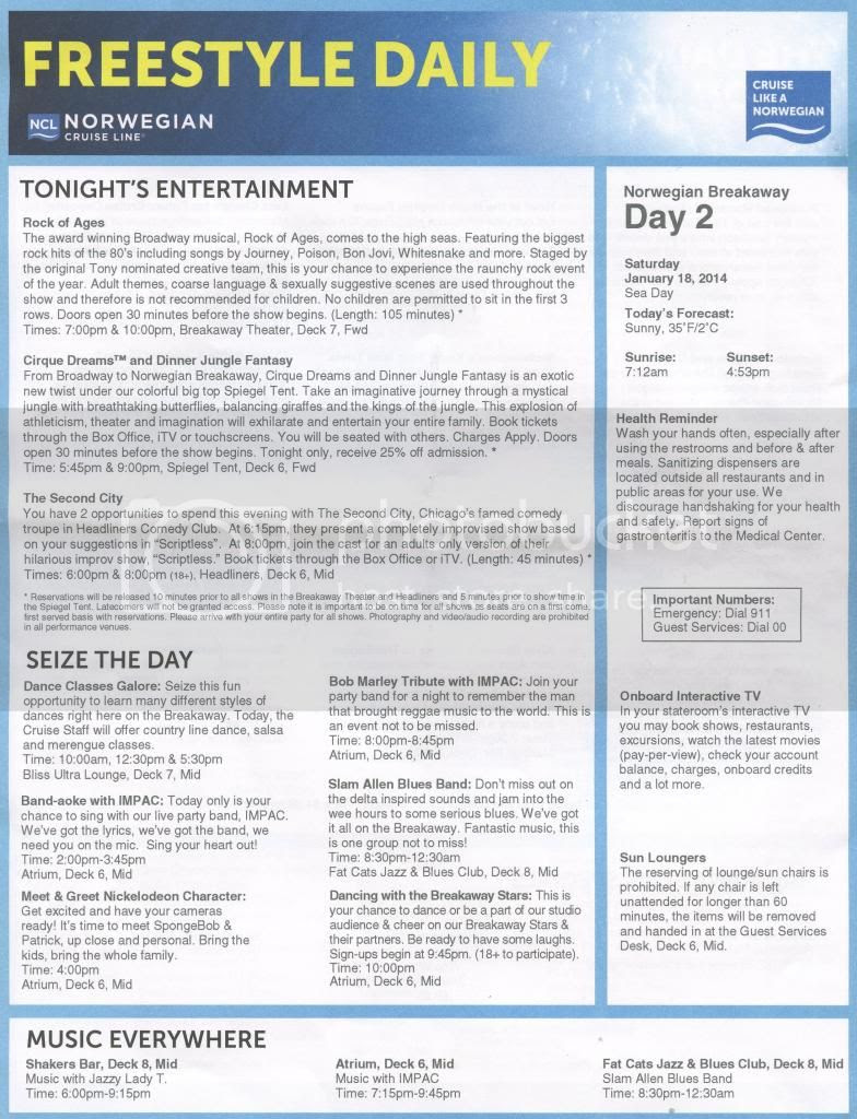 Ncl Breakaway Daily Schedule   Daily Planner
