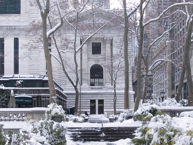 NYPL in the snow