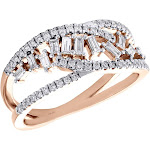 14K Rose Gold Round & Baguette Diamond Intertwined Scatter Cocktail Ring 0.50 Ct