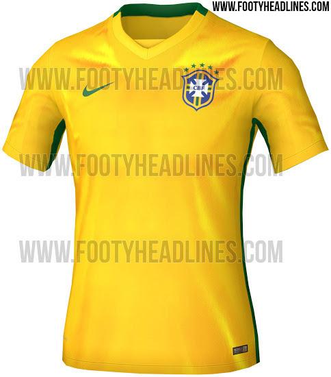 Nueva Nike Camiseta del Brasil para la Copa América 2015El Nueva Nike Camiseta del Brasil para la Copa América 2015 presenta un diseño simplista.Tradicionalmente, el Nueva Camiseta del Brasil 2015 2016 combina el clásico color principal de amarillo con aplicaciones verdes.Una línea verde está en ejecución de las mangas de la parte inferior del Nueva Primera equipación del Brasil 2015 2016.El Nueva Nike Camiseta del Brasil para la Copa América 2015 presenta un cuello v-cuello limpio y moderno en amarillo y verde.Los cortos de la Nueva Camisetas de futbol del Brasil Local 2015 2016 será azul, y las medias serán de color blanco.