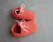 Coral Crochet Baby Girl 100% Cotton Shoes, size 3-6 months, Ready to Ship - atelierbagatela