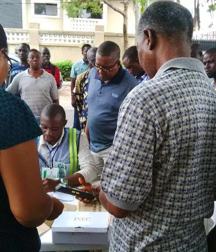 African Richest Man Seen At His Polling Centre (Photo)