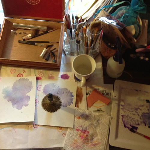 Day 10 - my creative desk - what do you do with old make-up brushes? I paint with them.