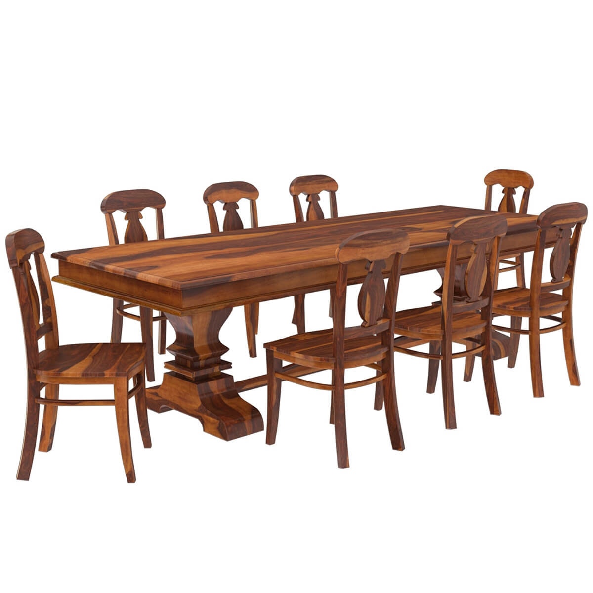 Nottingham Solid Wood 92\u201d Trestle Dining Table Benches \u0026 2 Chairs
