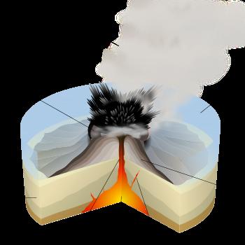 English: Scheme of a surtseyan eruption. Franç...