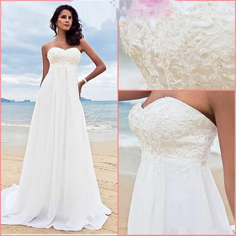 New White/Ivory A Line Chiffon Beading Beach Formal