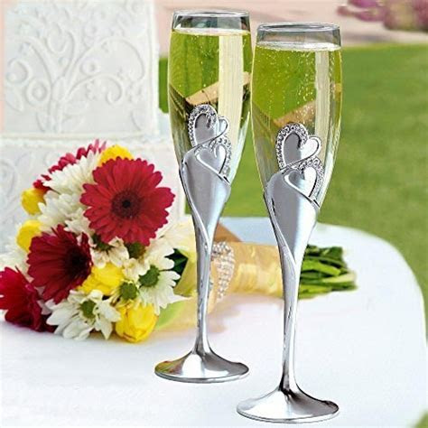 Toasting Flutes Wedding Silver glass champagne glasses