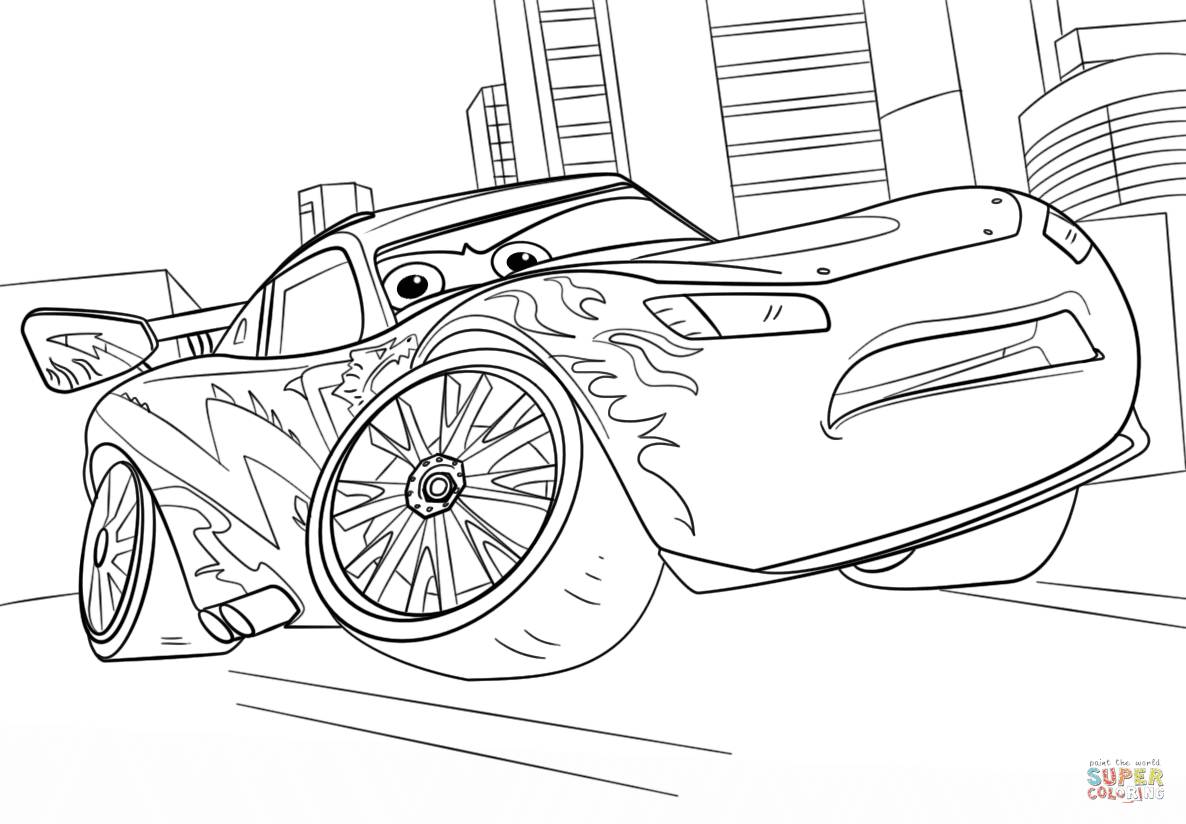 Lightning McQueen from Cars 3 coloring page | Free ...