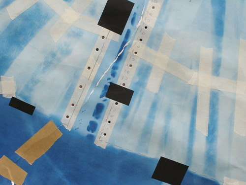 Collage : Architectural Blueprint and Historical Garment (detail) 2011 by Russell Moreton