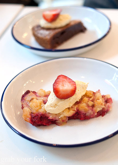 rhubarb and raspberry crumble dessert at fika swedish kitchen cafe manly