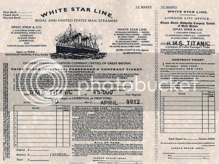 Third Class Titanic passenger ticket