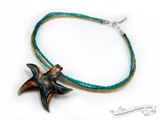 Green Starfish necklace starfish pendant lampwork necklace