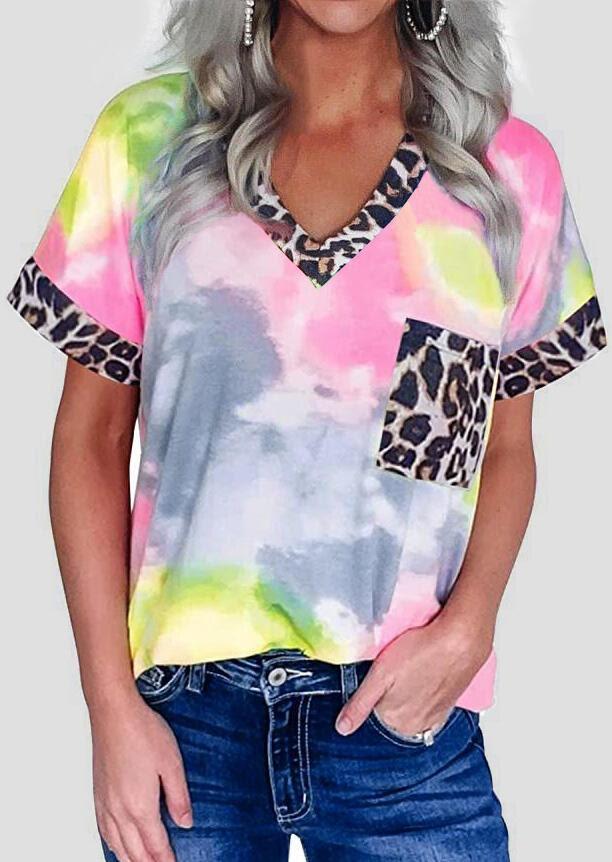 Tees T-shirts Tie Dye Leopard Splicing Pocket T-Shirt Tee in Leopard. Size: S,M,L,XL