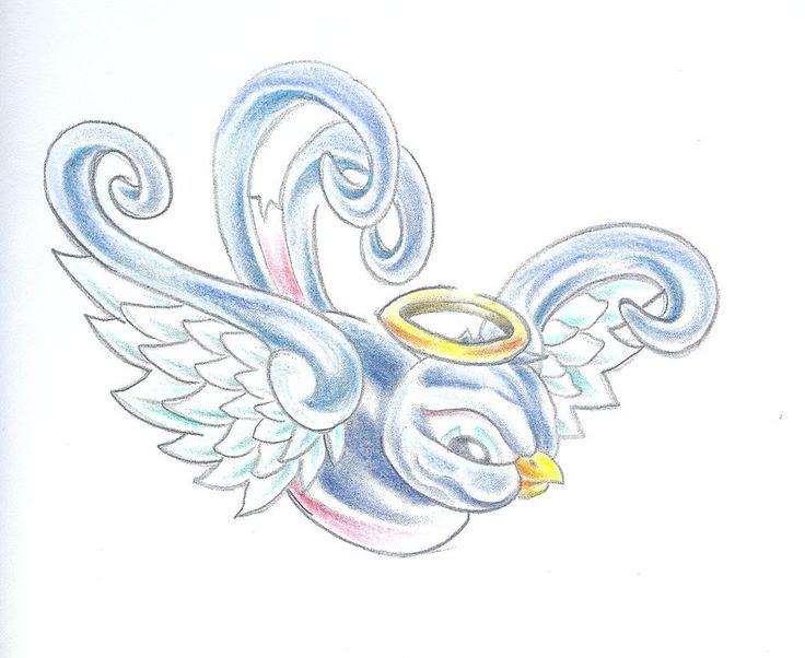 Sparrow Halo Bird Rip Baby Angel Wings Tattoo Tattoos