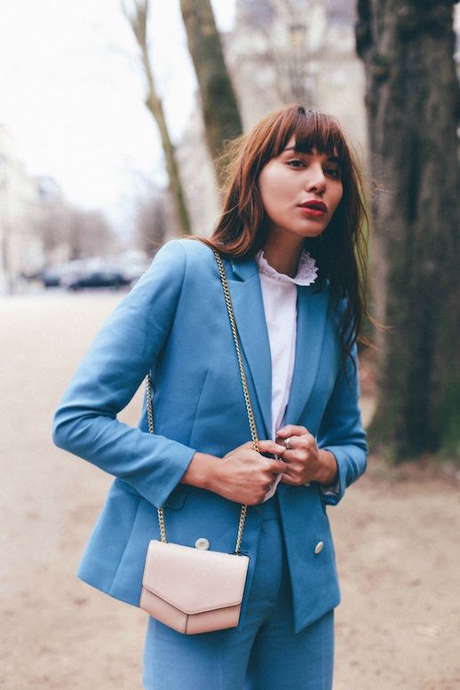 Le Fashion Blog Blue Blazer Blue Trousers Lace Collar Shirt Via Natalie Off Duty