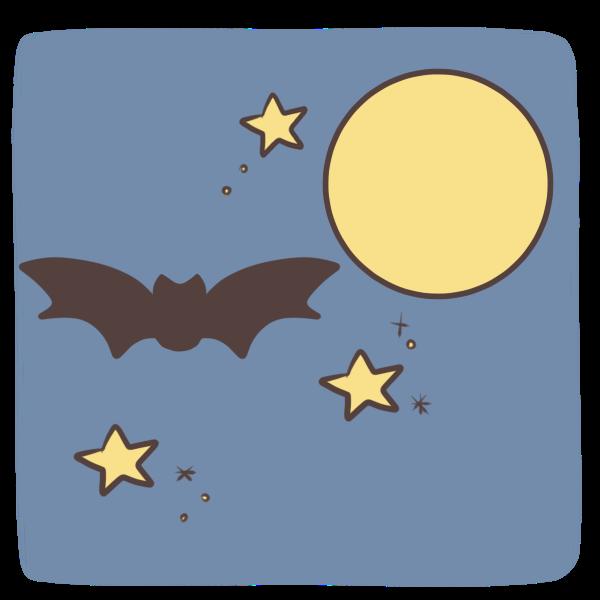 夜空を飛ぶコウモリのイラスト かわいいフリー素材が無料のイラストレイン