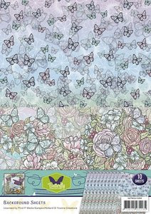 BGS10006 Achtergrondpapier Yvonne Creations Butterfly