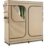 Honey-Can-Do WRD-01272 Double Door Storage Closet with Shoe Organizer, Tan