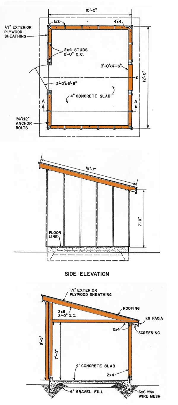 10x12 lean to storage shed plans diagrams for a slant roof shed