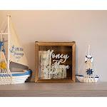 Genie Crafts Shadow Box Bank - Wooden Honeymoon Fund Shadow Box, Adult Piggy Bank, Money Saving Bank, for Travel Vacation Honeymoon Wedding Fund, Natu