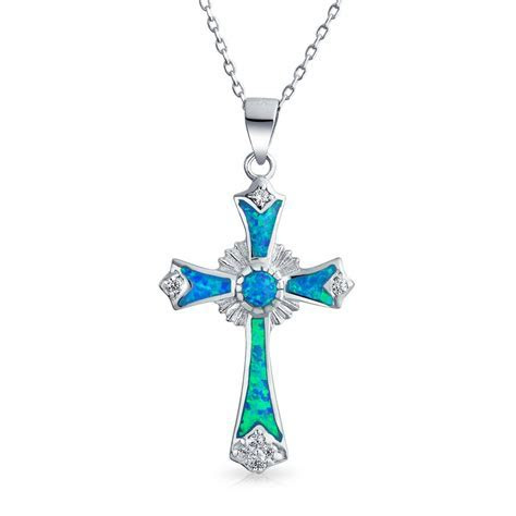 925 Silver Synthetic Opal CZ Cross Pendant Necklace 18in