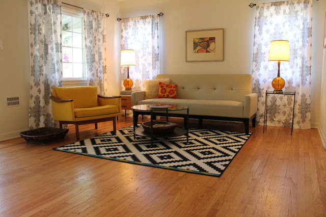 Mid Century Modern Living Room with B&W Rug - midcentury - living ...
