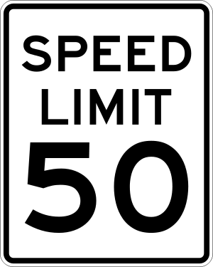 United States speed limit sign in miles per hour