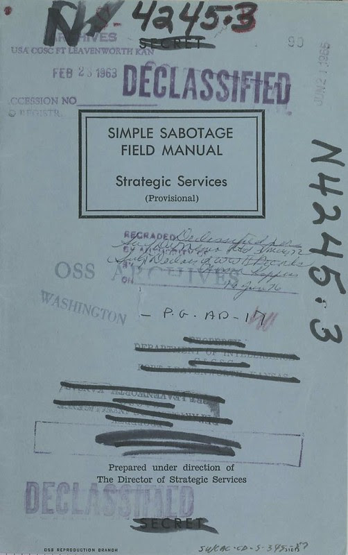 Identifying Saboteurs in Your Organization: OSS Simple Sabotage Field Manual