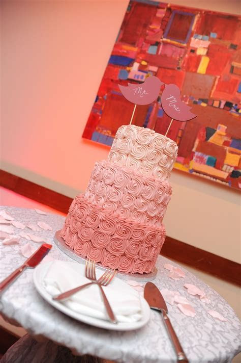 ombre pink buttercream rose wedding cake   Wedding Coral