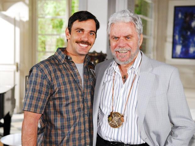 Marcelo e Reginaldo Faria caracterizados para a novela Beleza Pura (Foto: TV Globo / Kiko Cabral)