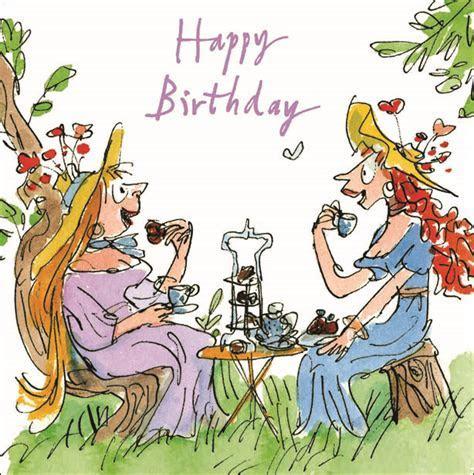 Quentin Blake High Tea Happy Birthday Greeting Card   Cards