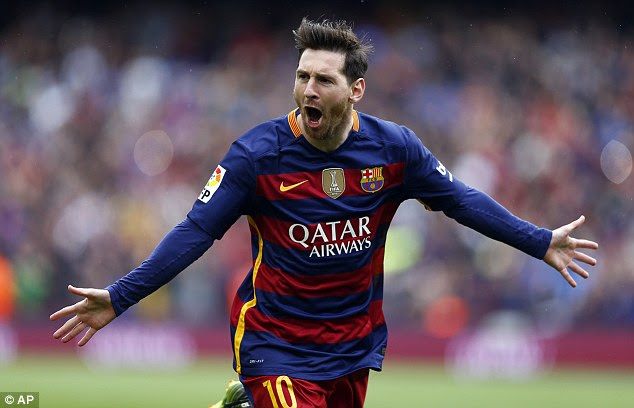 Lionel Messi celebrates after scoring in Barcelona's 5-0 derby win over Espanyol on Sunday